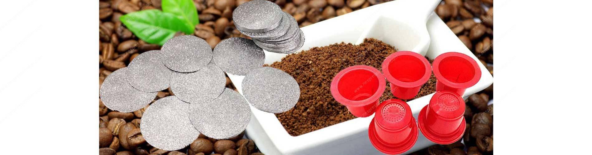 Aluminium Nespresso Lid and Empty Nespresso Capsules