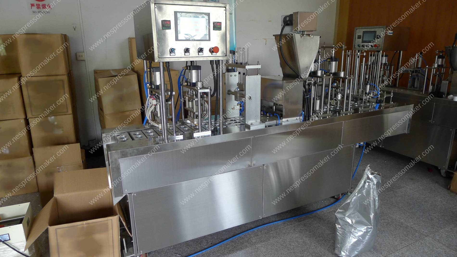 One Header Linear Type Nespresso Capsules Filling Sealing Machine